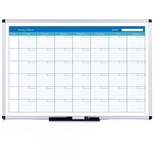 Viz Pro 1200x900mm Double Sided Magnetic Whiteboard Monthly Planner-0