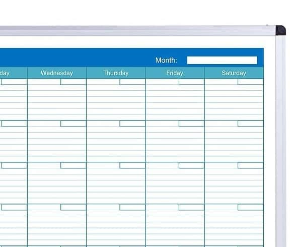 Viz Pro 1200x900mm Double Sided Magnetic Whiteboard Monthly Planner-33